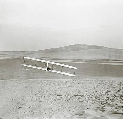 In Flight Photograph - Wright Brothers Kitty Hawk Glider by Library Of Congress