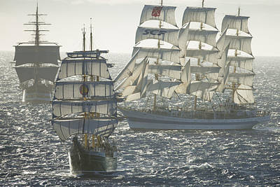 3 X Tall Ships Art Print by Gilles Martin-Raget