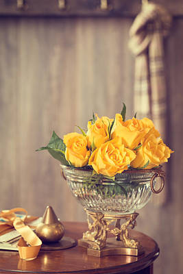 Flower Design Photograph - Yellow Roses by Amanda Elwell