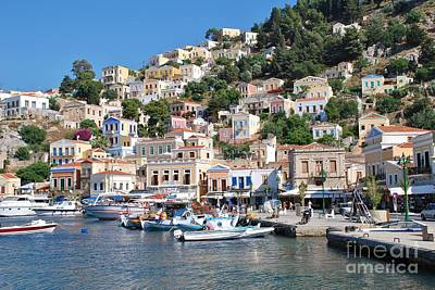 Symi Photograph - Yialos Harbour Symi by David Fowler