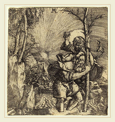 Saint Christopher Drawing - Albrecht Altdorfer German, 1480 Or Before-1538 by Litz Collection