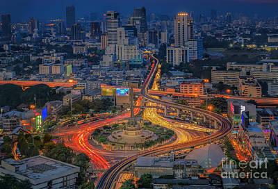 Bangkok City Night View Art Print by Anek Suwannaphoom