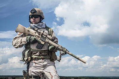 Photograph - Member Of Navy Seal Team With Weapons by Oleg Zabielin