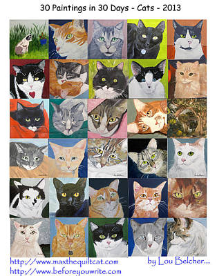 Cats Painting - 30 Paintings In 30 Days - Cats by Lou Belcher