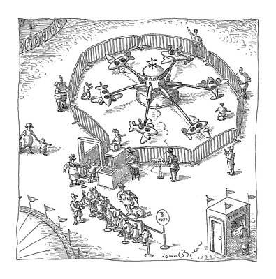 Amusement Park Drawing - New Yorker November 8th, 2004 by John O'Brien