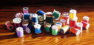Painting - 30 Wooden Spools by Dianna Ponting