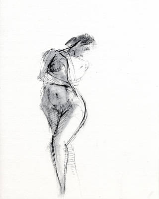 Female Nude Drawing - Rcnpaintings.com by Chris N Rohrbach
