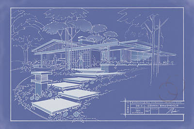 Drawing - 301 Cypress Drive - Reverse by Larry Hunter