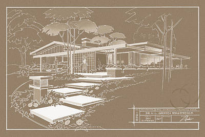 Drawing - 301 Cypress Drive - Sepia by Larry Hunter
