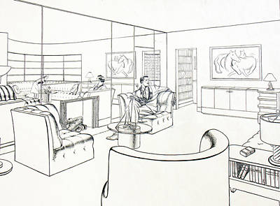 Retro Wall Art - Drawing - Moderne Man Cave by Robert Poole