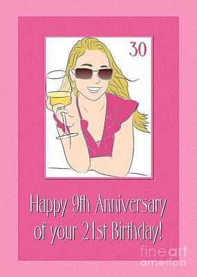 Digital Art - 30th Birthday Girl by JH Designs