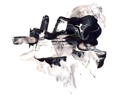 Mind Flow - Black And White Abstract Painting Art Print by Modern Art Prints