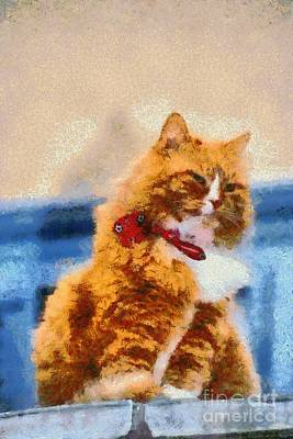 Painting - Cat In Hydra Island by George Atsametakis