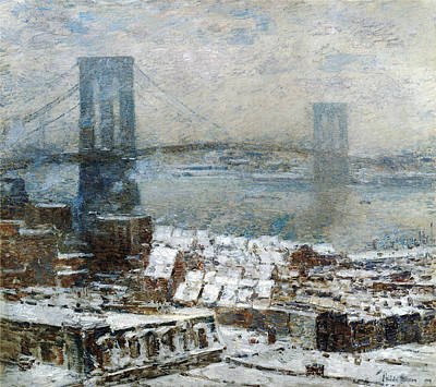 Childe Photograph - Brooklyn Bridge In Winter by Childe Hassam