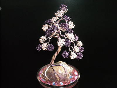 #31 Spiritually Amethyst Wire Sculpture Bonsai Tree Original by Ricks  Tree Art