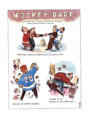 Hockey Drawing - New Yorker January 21st, 2002 by Barry Blitt