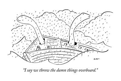 Rain Drawing - I Say We Throw The Damn Things Overboard by Michael Shaw