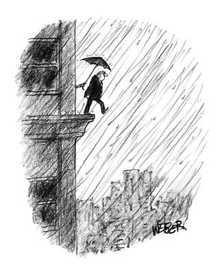 Ledge Drawing - New Yorker May 22nd, 2000 by Robert Weber