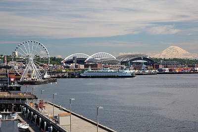 Wa Photograph - Wa, Seattle, The Seattle Great Wheel by Jamie and Judy Wild