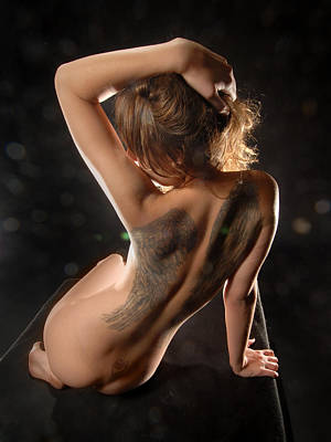 Photograph - 3143 Nude With Angel Wing Tattoo On Her Back by Chris Maher