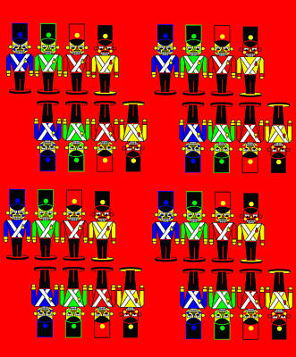 32 Nutcracker Soldiers On Red Print by Asbjorn Lonvig