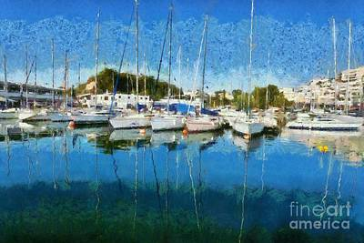 Vessel Painting - Reflections In Mikrolimano Port by George Atsametakis