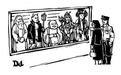 Police Officer Drawing - New Yorker June 2nd, 2008 by Drew Dernavich