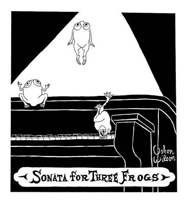 Frog Drawing - Sonata For Three Frogs by Gahan Wilson