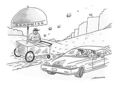 Roadkill Drawing - New Yorker April 24th, 2006 by Mick Stevens