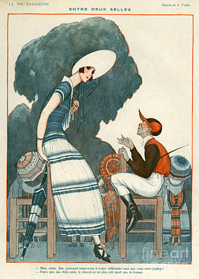Horse Racing Drawing - 1920s France La Vie Parisienne Magazine by The Advertising Archives