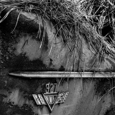 Photograph - 327 Flag Emblem In Black And White by Greg Mimbs