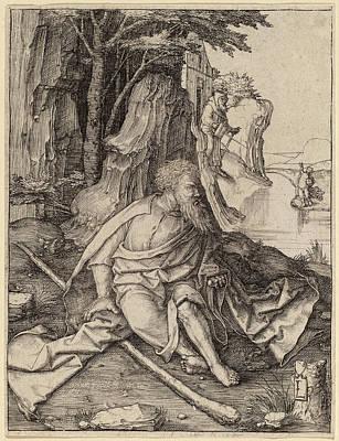 Saint Christopher Drawing - Lucas Van Leyden Netherlandish, 1489-1494 - 1533 by Quint Lox