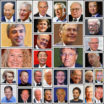 Rich Brown Frame Digital Art - 33 Top Richest People In The World by Yury Malkov