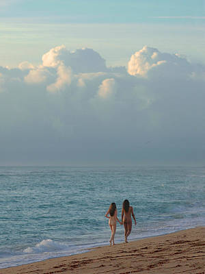 Photograph - 3393 Two Nude Girls Walking On Beach  by Chris Maher