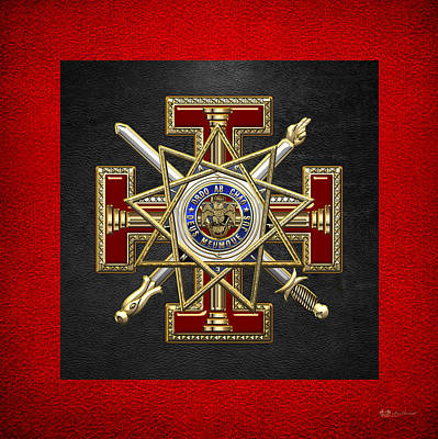 Digital Art - 33rd Degree Mason - Inspector General Masonic Jewel  by Serge Averbukh
