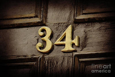 Number 34 Photograph - 34 Brass On Black by Valerie Reeves