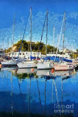 Painting - Reflections In Mikrolimano Port by George Atsametakis