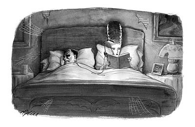 Bride Of Frankenstein Drawing - New Yorker November 8th, 2004 by Harry Bliss