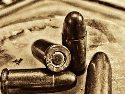 Bullet Photograph - 3415 Bullet Art Goldtone by Lesa Fine