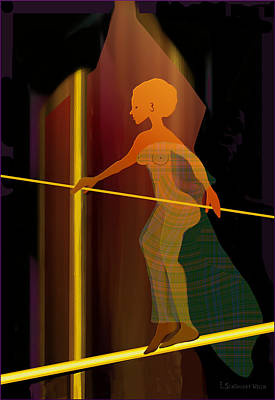 Insecurity Digital Art - 346 - Her  Balance by Irmgard Schoendorf Welch