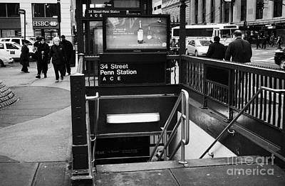 Manhaten Photograph - 34th Street Entrance To Penn Station Subway New York City by Joe Fox