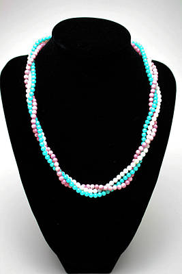 Coral Necklace Jewelry - 3584 Three Strand Twisted Shell Necklace by Teresa Mucha