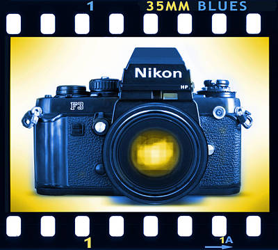 Pop Art Royalty-Free and Rights-Managed Images - 35mm BLUES Nikon F-3hp by Mike McGlothlen