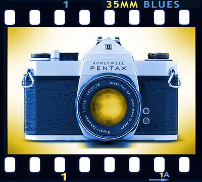 Vintage Camera Wall Art - Photograph - 35mm Blues Pentax Spotmatic by Mike McGlothlen