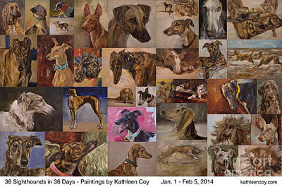 Pharaoh Hound Painting - 36 Sighthounds Poster by Kathleen Coy
