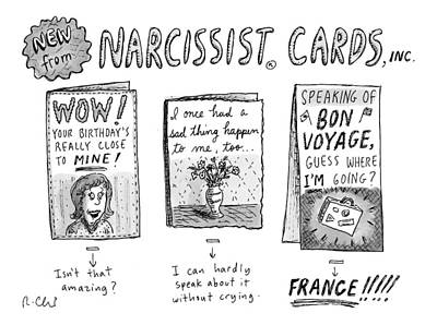 Greetings Card Drawing - Narcissist Cards by Roz Chast