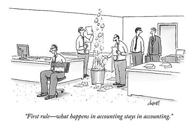 Burned Drawing - First Rule - What Happens In Accounting Stays by Tom Cheney