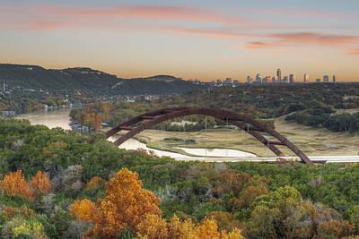 360 Bridge And The Austin Skyline In Autumn Art Print by Rob Greebon