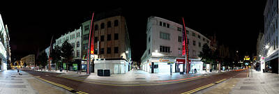 County Antrim Photograph - 360 Degree View Of A Street At Night by Panoramic Images