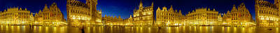 Belgium Photograph - 360 Degree View Of The Grand Place Lit by Panoramic Images